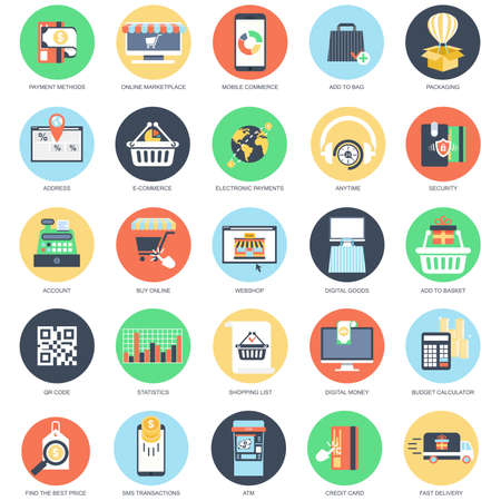 Flat conceptual icon set of e-commerce, internet shopping, retail store and online marketplace, payment methods. Pack flat icons concept for website and graphic designers. Mobile and print media.