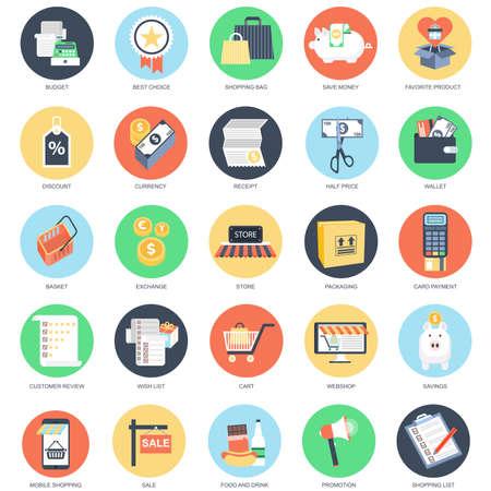 Wohnung konzeptuelle Icon Set von E-Commerce, Internet-Shopping, Ladengeschäft und Online-Marktplatz, mobile Einkaufen. Packen Sie flache Ikonen Konzept für die Website und Grafik-Designer. Mobile und Printmedien.