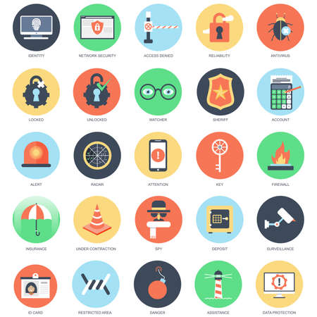 under surveillance: Flat conceptual icon set of web security and computer network protection. Pack flat icons concept for website and graphic designers. Mobile and print media.