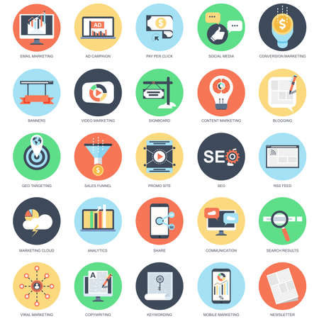 Flat conceptual icon set of digital, video, viral marketing, seo and social media. Pack flat icons concept for website and graphic designers. Mobile and print media.