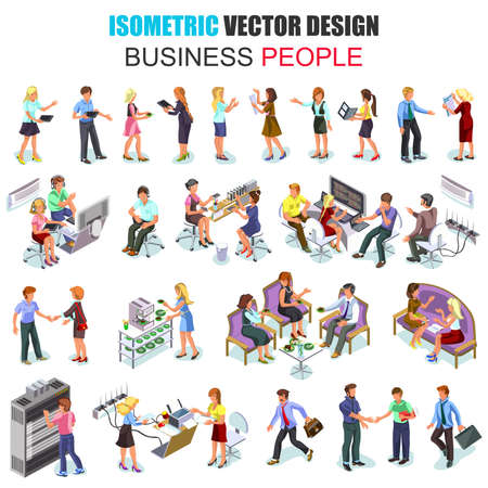 sit: Flat 3d isometric business people employees isolated. Businessman, businesswoman, recruitment process. Set with males and females in office suits. Cartoon character vector. Creative people collection.