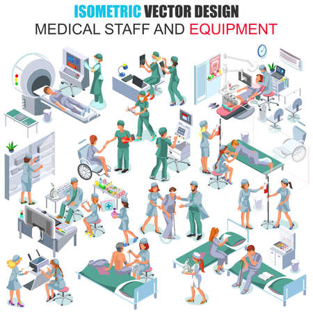 healthcare workers: Flat 3d isometric medical staff people vector illustration. Hospital equipment and furniture. Cartoon character. Healthcare, medicine, professional workers, doctor, nurse. Creative people collection.