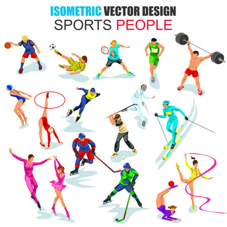 fencers: Flat 3d isometric professional sportsman people vector illustration. Different sports. Set with males and females. Cartoon character. Creative people collection.