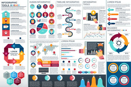 Infographic elements vector design template. Can be used for data visualization, circle diagram, bar graph, pie chart, process diagram, timeline infographic, marketing, set information infographics. Çizim