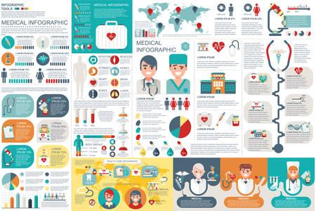 Medical elementi infographic modello di disegno vettoriale. Può essere utilizzato per diagramma cerchio, grafico a barre, grafico a torta, diagramma di processo, timeline infografica, sanità, ricerca, set infografica di informazione.