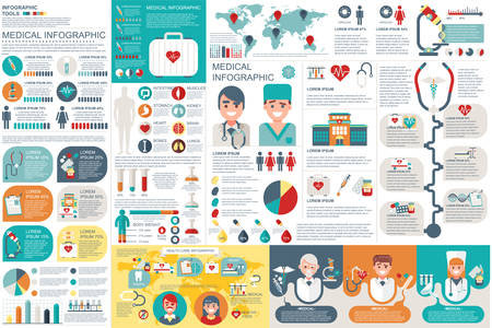Medical infographic elements vector design template. Can be used for circle diagram, bar graph, pie chart, process diagram, timeline infographic, healthcare, research, set information infographics. Ilustração