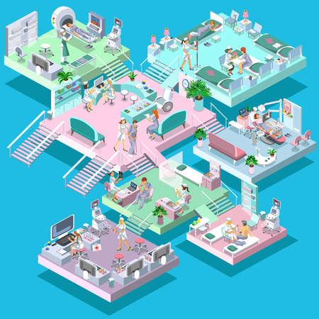 healthcare workers: Flat 3d isometric medical services vector illustration. Hospital equipment and furniture. Cartoon character. Healthcare, medicine, professional workers, doctor, nurse. Medical staff and patients.