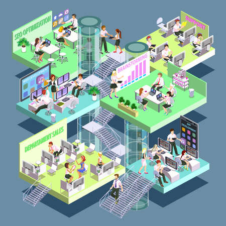 office space: Flat 3d isometric development company vector design template. Office, with rooms for personnel, application development, developers of mobile apps and web sites. The team performs SEO optimization.