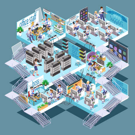 server room: Flat 3d isometric cloud datacenter concept with server configuration remote access equipment and cloud drives vector design template. Isometric office with rooms for technical support, IT experts.
