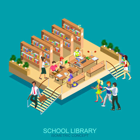 Flat 3d isometric library. Education, staff training, learning, knowledge, back to school, study computer science and chemistry, teacher, students. Illustration