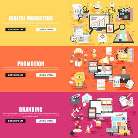 Appartement notion ensemble de campagne sociale, marketing numérique, le marketing mobile, la publicité et la promotion, l'image de marque de l'entreprise. Concepts pour le site Web et la conception graphique. icônes plates. Les médias mobiles et l'impression.