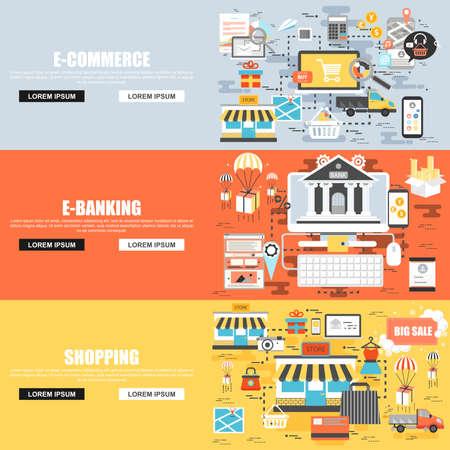 Flat concept set van e-commerce, winkelen en winkelen, online banking, boekhouding, bedrijfsprocessen. Concepten voor website en grafisch ontwerp. Platte pictogrammen. Mobiele en gedrukte media.