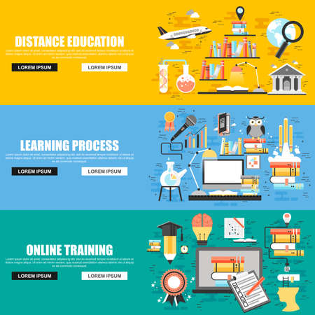Flat concept set of online education, video tutorials, staff training, learning, knowledge, back to school, learn to think. Concepts for website and graphic design. Flat icons. Mobile and print media.