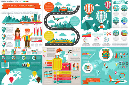 Flat travel infographic elements vector design template. Can be used for data visualization, website travel companies, flat icon, travel banner, road timeline, marketing, set information infographics.