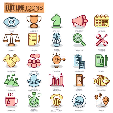 Thin line business and marketing icons set for website and mobile site and apps. Pixel Perfect. New style simple linear icon with flat shadow.  イラスト・ベクター素材
