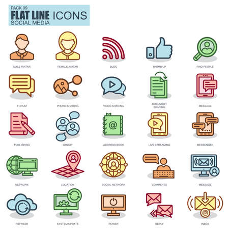 internet icon: Thin line internet marketing and social network icons set for website and mobile site and apps. Pixel Perfect. New style simple linear icon with flat shadow. Illustration