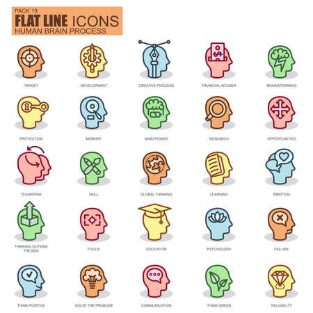 fila de personas: línea delgada del cerebro humano de proceso, características y emociones, la toma de decisiones y los iconos fijados para el sitio web y el sitio móvil y aplicaciones. Pixel Perfect. simple icono lineal nuevo estilo con la sombra plana. Vectores