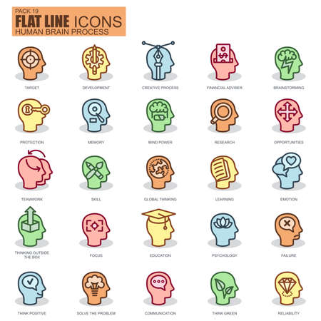 people in line: Thin line human brain process, features and emotions, decision-making and communication icons set for website and mobile site and apps. Pixel Perfect. New style simple linear icon with flat shadow.