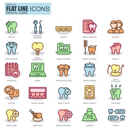 higiene bucal: cuidado delgada línea dental, aparatos para odontología, higiene oral iconos fijados para el sitio web y el sitio móvil y aplicaciones. Pixel Perfect. simple icono lineal nuevo estilo con la sombra plana.