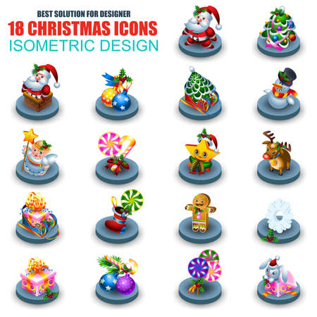 christmas candle: Set of isometric Christmas icons vector design template. Can be used Happy New Year greeting card, banners, web design. Contains tree, gifts box, Santa and Rudolf, snowflakes, balls, gingerbread man.
