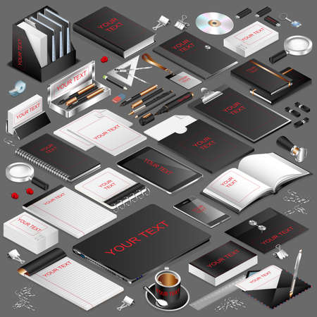 be the identity: Corporate identity isometric stationery objects set. Mockup template black style. Vector illustration. Can be used for branding, advertising, promotion, printed and web design. Isometric icons. Illustration