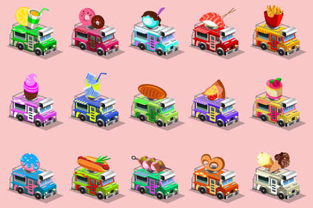 american food: Van food vehicle isometric icons style vector design template. Delivery master. Street chef web template. Full of taste american bbq high quality dish alternative italian cuisine illustration.