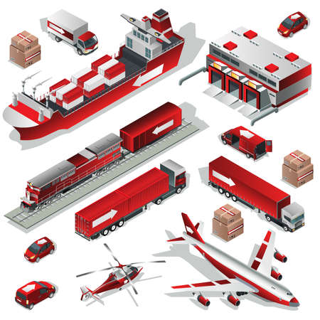 traceability: Flat 3d Isometric worldwide express delivery transport icon concepts. Set of transportation icon. Logistics service vehicle, fleet truck, ship, airplane, helicopter, train. Vector illustration.