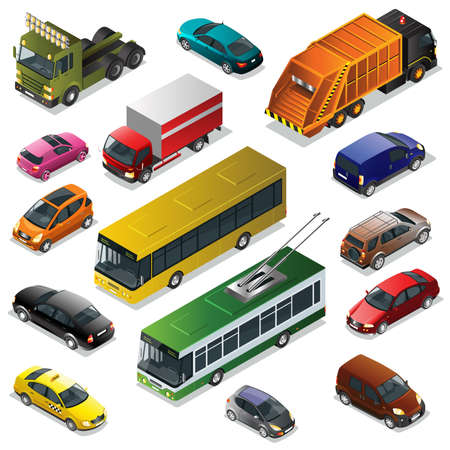 trolleybus: Flat 3d isometric high quality city transport icon set. Car vehicle, transportation traffic, truck van, auto cargo, taxi, bus and automobile, garbage truck trolleybus illustration.