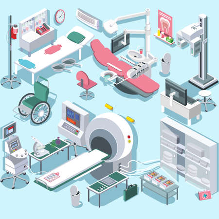 tomograph: Modern medical surgery and examination rooms isometric equipment with scanner monitor and operation table abstract isolated vector illustration Hospital equipment and furniture.