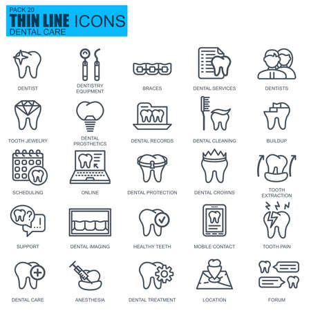 Thin line dental care, dentistry equipment, hygiene icons set for website and mobile site and apps. Pixel Perfect. Editable Stroke. New style flat simple linear pictogram pack. Vector illustration.