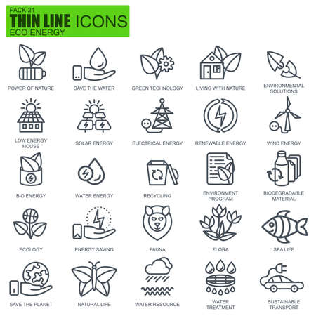 icons set: Thin line environment, renewable energy technology icons set for website and mobile site apps. Pixel Perfect. Editable Stroke. New style flat simple linear pictogram pack. Vector illustration.