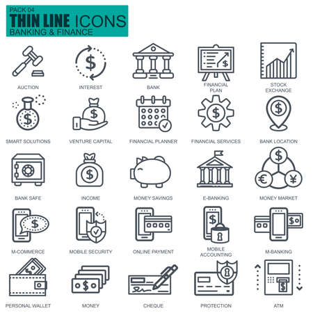 Thin line banking and finance icons set for website and mobile site and apps. Pixel Perfect. Editable Stroke. New style flat simple linear pictogram pack. Vector illustration. Illustration
