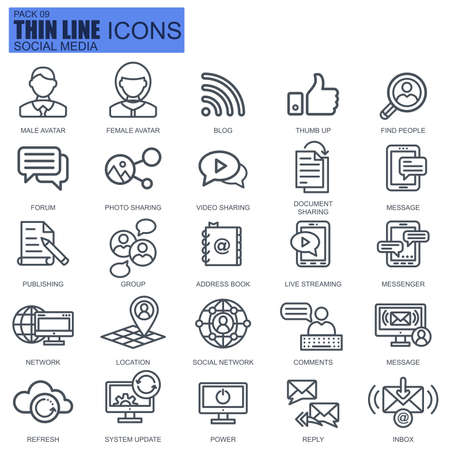 Thin line internet marketing and social network icons set for website and mobile site and apps. Pixel Perfect. Editable Stroke. New style flat simple linear pictogram pack. Vector illustration.