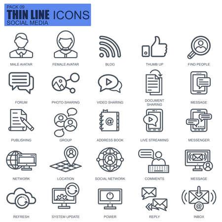 Thin line internet marketing et icônes de réseaux sociaux pour site Web et site mobile et applications. Pixel-parfait. AVC modifiable Pack de pictogramme linéaire plat simple de nouveau style. Illustration vectorielle