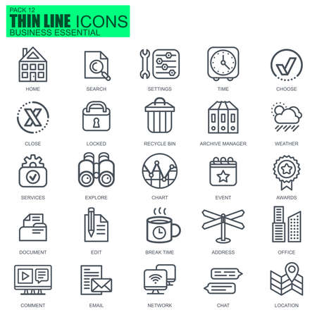 Thin line business essential, communication and office icons set for website and mobile site apps. Pixel Perfect. Editable Stroke. New style flat simple linear pictogram pack. Vector illustration.