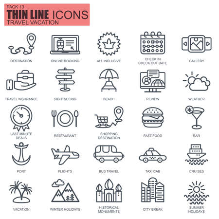 Thin line travel and tourism, for travel agencies icons set for website and mobile site apps. Pixel Perfect. Editable Stroke. New style flat simple linear pictogram pack. Vector illustration. Ilustração