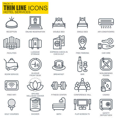 Thin line hotel services and facilities, online booking icons set for website and mobile site apps. Pixel Perfect. Editable Stroke. New style flat simple linear pictogram pack. Vector illustration.