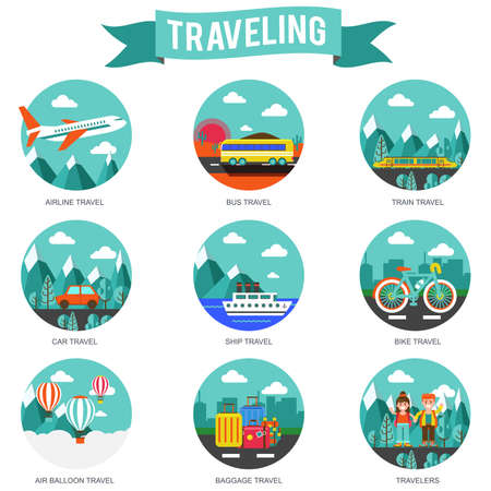 summertime: Set of travel and tourism conceptual flat icons for website and apps. Planning a summer vacation, tourism and journey objects, hitchhiking and passenger luggage. Vector illustration.