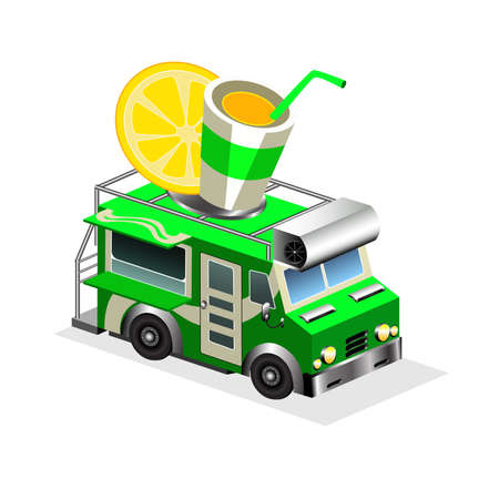 eatery: Sodas eatery on wheels icon. Car van with drinks and glass with juice and lemon on roof isometric vector isolated on white background. 3d mobile cafe with bright signboard. For restaurant and bar.