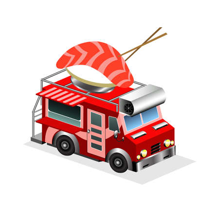 snack bar: Japan food eatery on wheels icon. Car van with sushi in chopsticks on roof, vector isolated on white background. Isometric 3d mobile cafe with bright signboard. For restaurant, snack bar and apps.