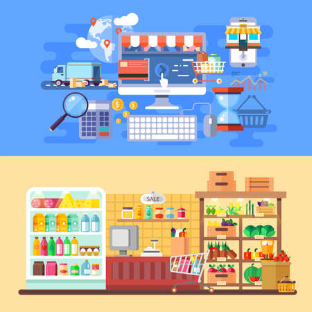 web solution: Supermarket and e-commerce banners flat concept. Online shopping mall center. Internet sale and business processes, web infographic. Best solution for graphic designers. Vector illustration.