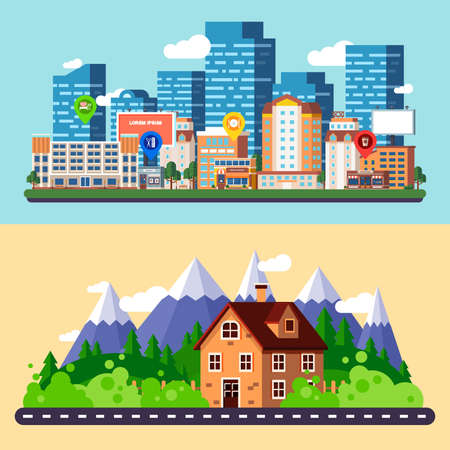 Flat city and forest landscapes banners vector design template. Different buildings University, school, library, plant, restaurant, skyscrapers, coniferous forest, mountains, country hotel.