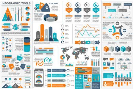 Modèle de conception de vecteur de visualisation de données d'éléments d'infographie. Peut être utilisé pour les étapes, les options, les processus métier, le flux de travail, le diagramme, le concept de diagramme de flux, la chronologie, les icônes de marketing, les graphiques d'information.