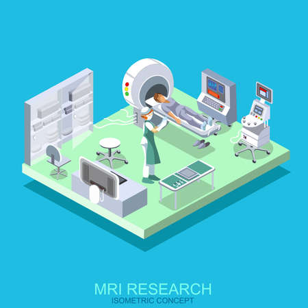Medical institution with cabinet MRI. Process research patients magnetic resonance imaging tomography. Isometric flat icon nurse. Vector illustration. Creative people collection. Illustration