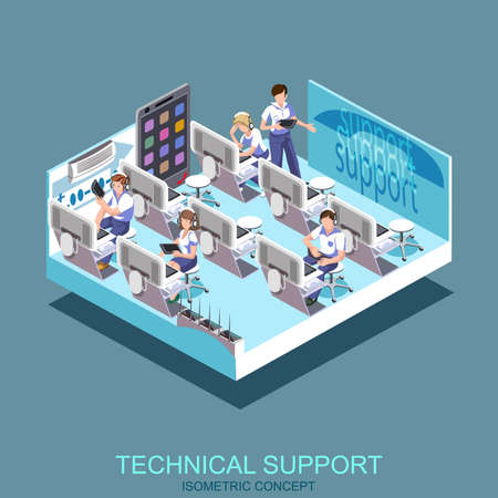 Technical support, call center and service vector illustration concept. Modern isometric flat icon people for web banners, web sites, printed materials, infographics. Illustration