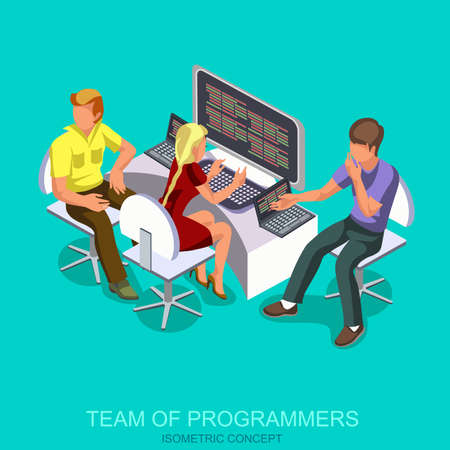Team of programmer working writing code at his desk with multiple displays and laptop computer. Isometric concept, flat icons. Vector illustration. Illustration