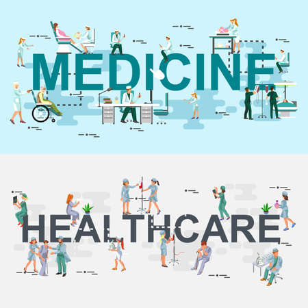 website words: Set of modern vector illustration concepts of words medical and healthcare. Line flat design banners for website and mobile website. Isometric creative people, doctor, nurse, patient.