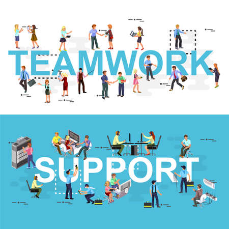 centre: Line flat design banner for teamwork, technical support, call center and service, brainstorming, leadership. Modern vector illustration concept for website and mobile apps templates. Icons collection. Illustration
