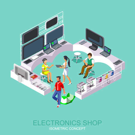 computer equipment: Supermarket appliances and computer equipment. People shopping in a mall and make purchases. Modern isometric flat icon for web banners, web sites, printed materials, infographics.