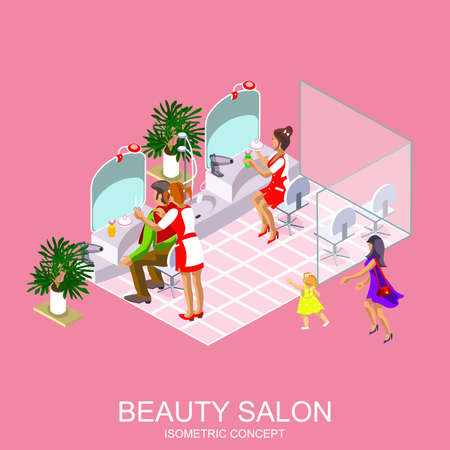 Beauty salon for woman and man vector design template. Haircut, manicure and make up atelier. Modern isometric flat icon for web banners, web sites, printed materials, infographics. Illustration